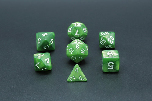 7-Piece Dice Set - Marble Green/White