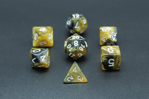 7-Piece Dice Set - Gemidice Hornet (Black & Gold/White)