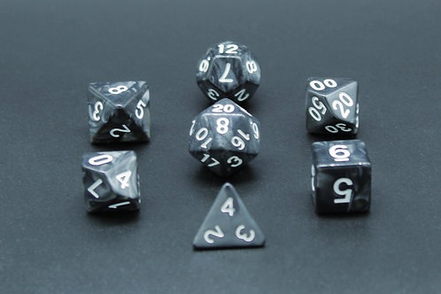 7-Piece Dice Set - Marble Black/White