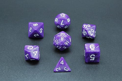 7-Piece Dice Set - Marble Purple/White