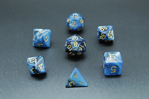 7-Piece Dice Set - Marble Blue/Gold