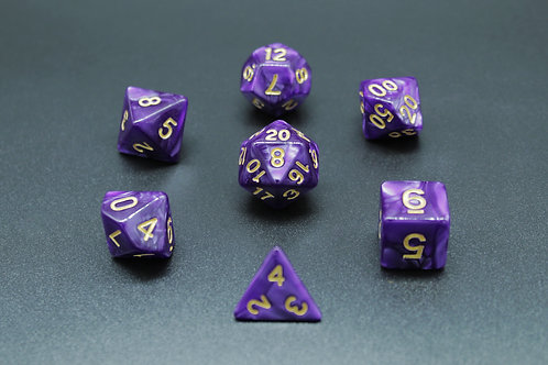 7-Piece Dice Set - Marble Purple/Gold