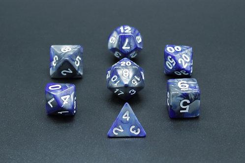 7-Piece Dice Set - Gemidice Liquid Steel (Silver & Blue/White)