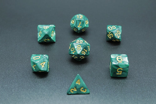 7-Piece Dice Set - Marble Green/Gold