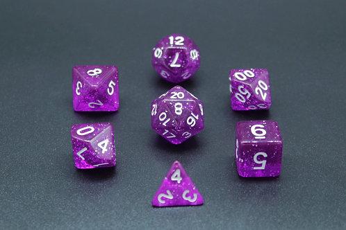 7-Piece Dice Set - Sparkle Purple/White