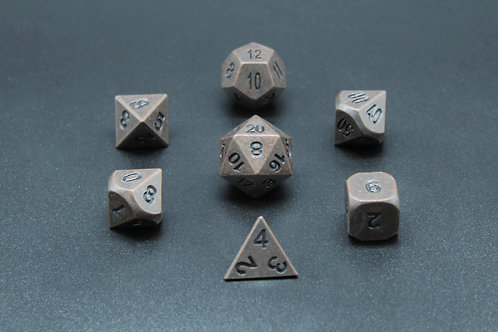 7-Piece Metal Dice Set - Aged Bronze/Black