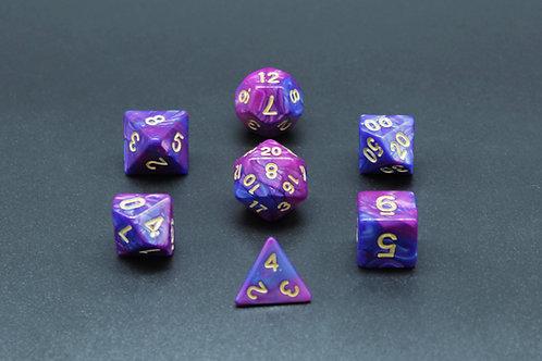 7-Piece Dice Set - Gemidice Amethyst (Purple & Blue/Gold)