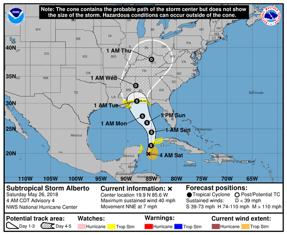 Subtropical Storm Alberto Advisory Number 4