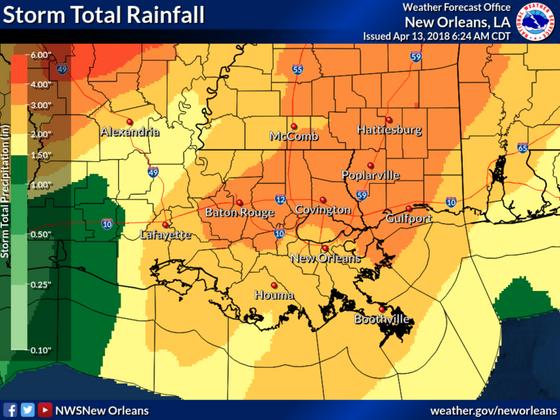 Severe weather across all of Southeast Louisiana