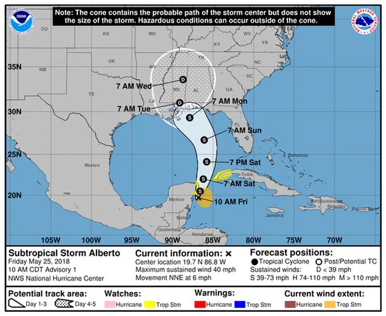 Subtropical Storm Alberto Forecast Discussion # 1