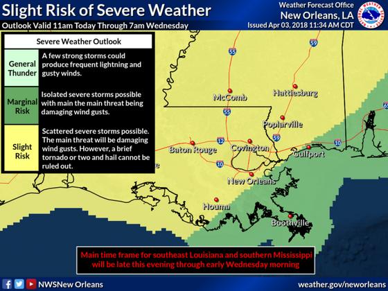 Marginal to Slight risk of severe weather tonight