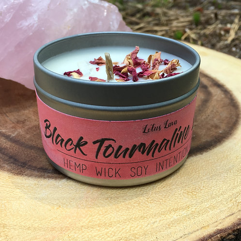 Black Tourmaline & Rose Hempwick Candle
