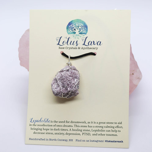 Raw Lepidolite Wire Wrapped Necklace