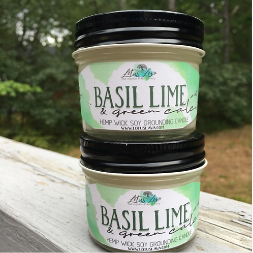 Basil & Green Calcite Crystal Soy Candle
