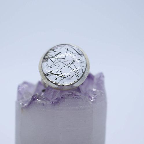 Silver Black Tourmaline in Quartz  Ring