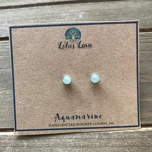 4mm Aquamarine Stud Earrings
