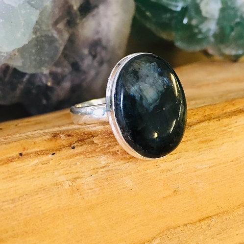 Black Moonstone Silver Ring