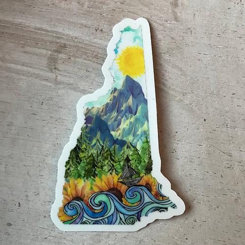 """3"""" New Hampshire Sticker"""