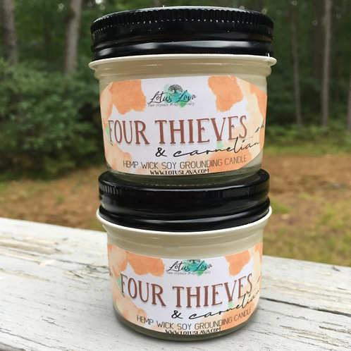 Four Thieves & Carnelian Crystal Soy Candle