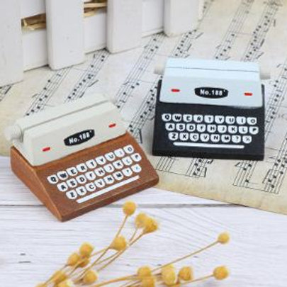 Wooden Typewriter Card Holder