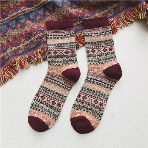 Maroon Warm Stripe Wool Socks