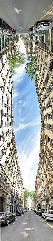 photo panoramique verticale montrant la rue Cuvier, proche de la rue Vandôme, montrant une sorte d'oval dans le ciel formé par des immeubles
