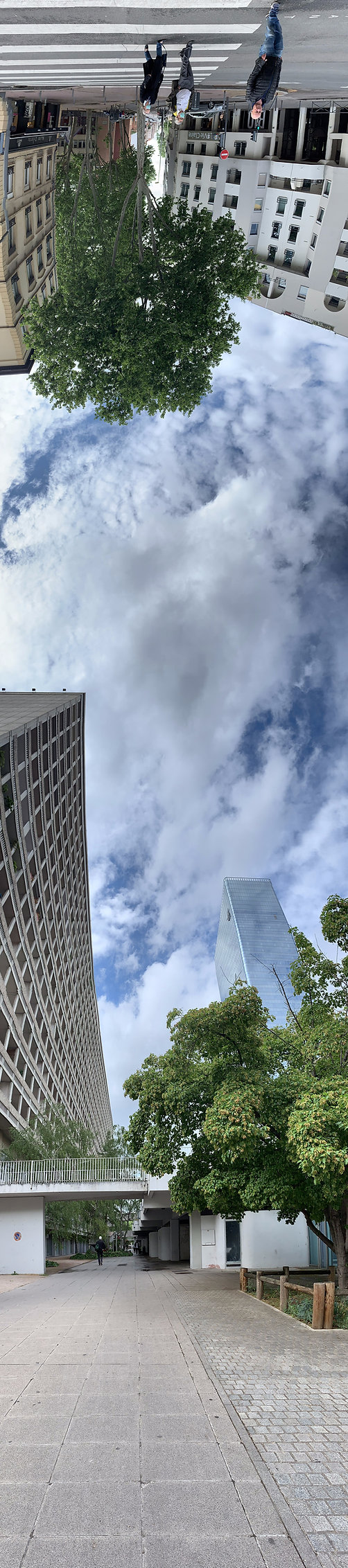 Photo panoramique verticale, vue de la rue de Bonnel avec une grande barre du cours Lafayette et la tour Incity
