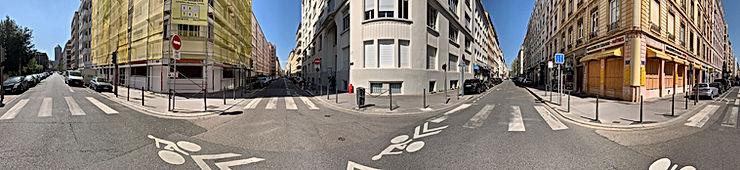 Photo panoramique de 3 immeubles compris entre la rue de Sèze et la rue tête d'or à Lyon
