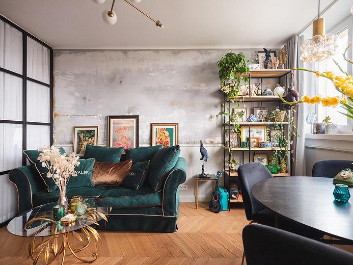 zielona sofa welur