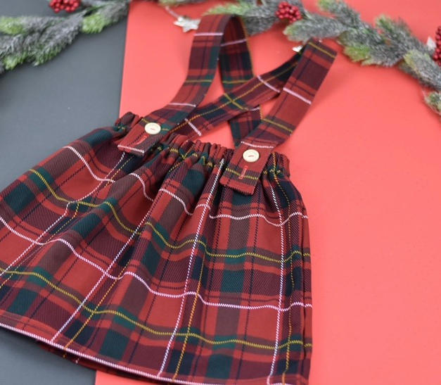 Tartan skirt with braces