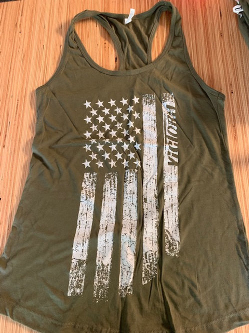Army Green Racer Tank Top