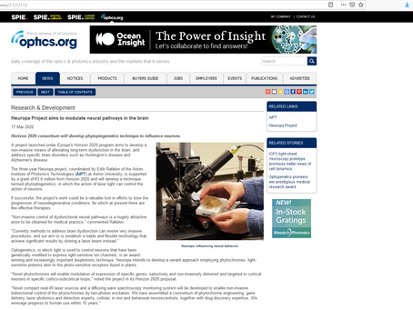 NEUROPA in the News - the business of photonics