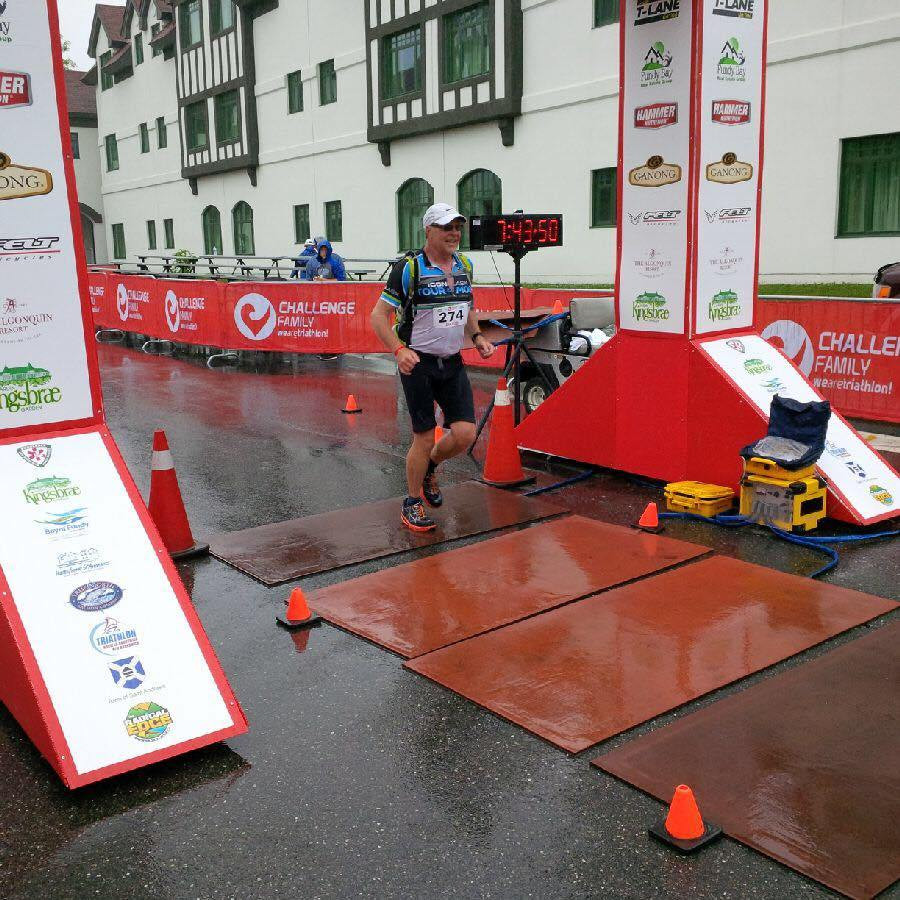 David crosses finish line