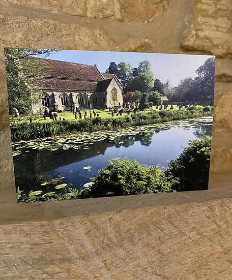 A card showing the exterior of St Cyr Church in Stonehouse