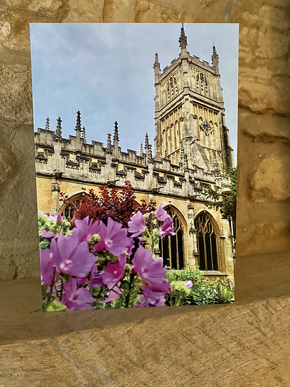 A card showing the exterior of St John's Baptist church in Cirencester