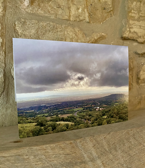 A card showing a view from Birdlip viewpoint