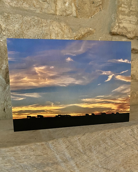 A card showing a sunset on the horizon with cows silhouetted against it.