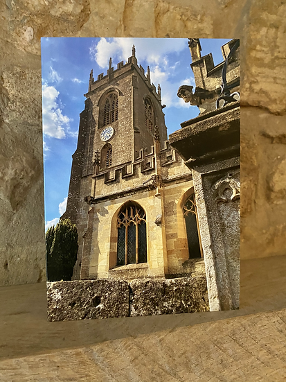 A card showing the exterior of Winchcombe Church