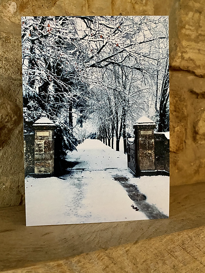A card showing a scenic driveway covered in snow on Rodborough Common