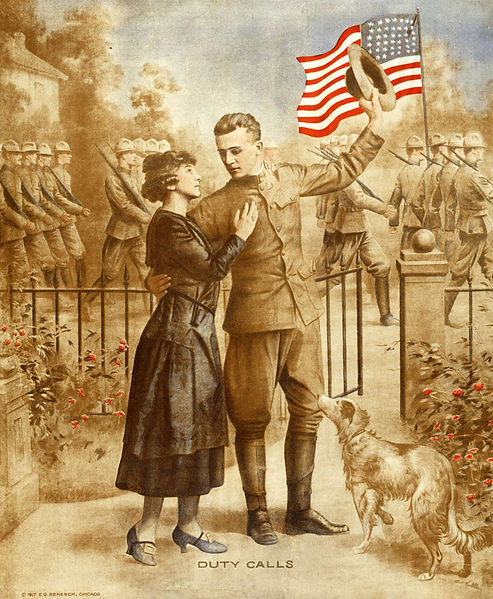 Creator: Renesch, E. G. Poster shows a soldier embracing his wife as he is about to leave for war. Soldiers march in the background holding the American flag.