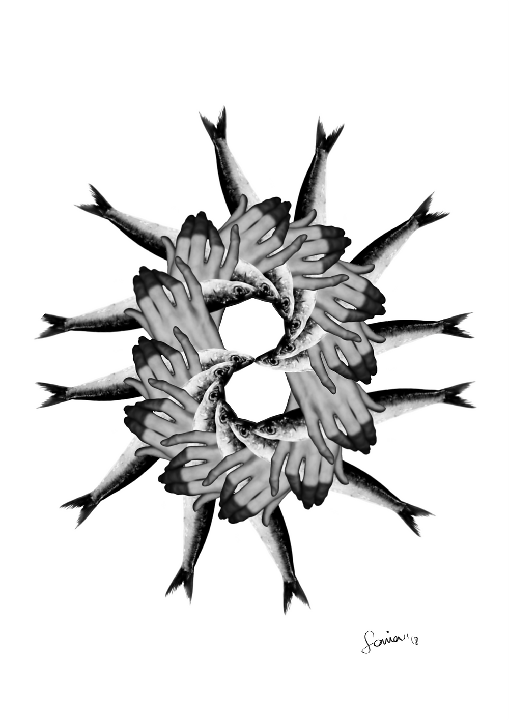 ilustración collage digital sardinas por sonia sanmartin
