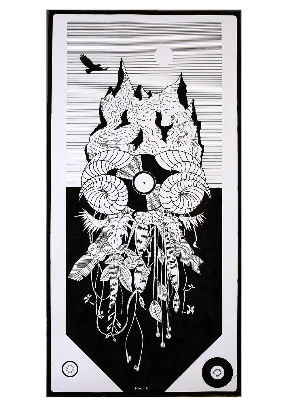Encargo artístico para Nacho Torres por Sonia Sanmartin en tinta china sobre música y naturaleza