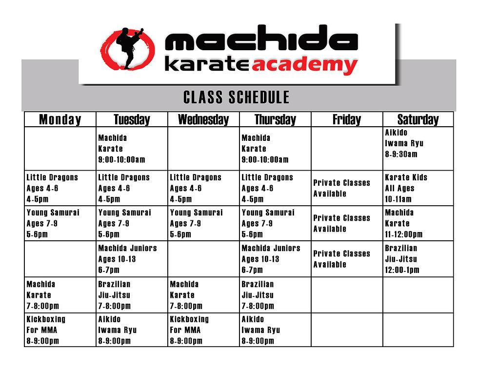 Machida Karate Miami Class Schedule 0113
