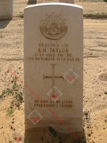EGYPT Heliopolis War Cemetery 2/24th Infantry Battalion VX25756 L/Cpl Robert Henderson TAYLOR