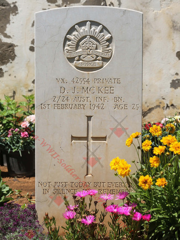 LEBANON Tripoli (Victoria) Naval Cemetery 2/24th Infantry Battalion VX42554 Pvt Donald James McKEE