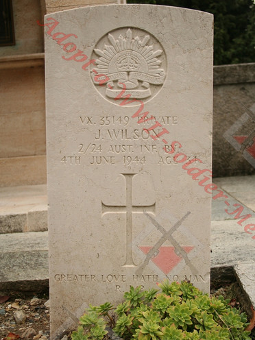 ITALY Staglieno Cemetery, Genoa 2/24th Infantry Battalion VX35149 Pvt Jack WILSON