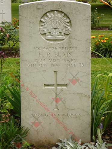 ITALY Milan War Cemetery 2/24th Infantry Battalion VX46586 Pvt Harold Ryrie BLAIN