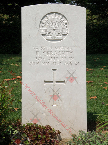 ITALY Udine War Cemetery 2/24th Infantry Battalion VX33414  Sgt Eugene GERAGHTY