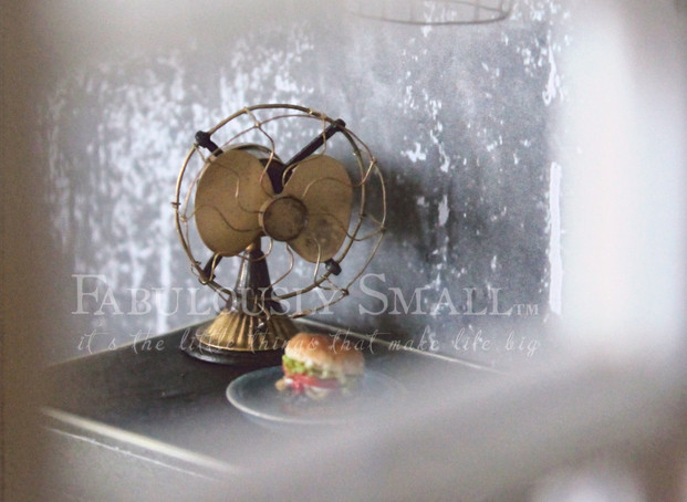 12th scale handmade working vintage fan with