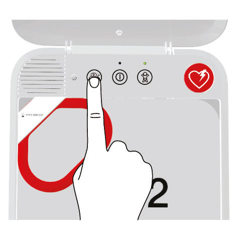 If the defibrillator is a dual-language model, a voice prompt occurs at this time in the secondary language.